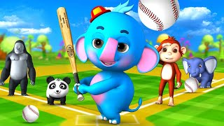 Baby Elephant \u0026 Gorilla and Funny Animals Play Baseball Game in Forest   Funny Animal Cartoon Videos