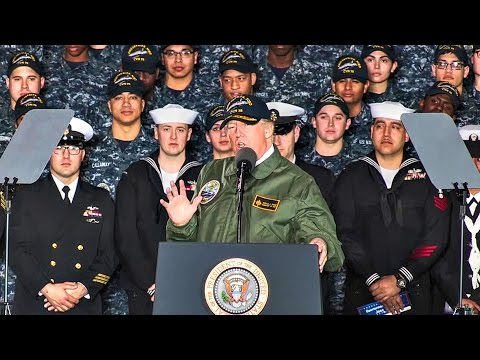 Trump Visits Navy's New Ford-Class Aircraft Carrier: Marine One Landing + Full Speech