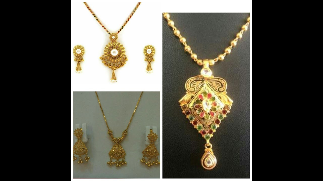 Gold Pendant with Earrings Designs/ New Locket Designs Collection ...