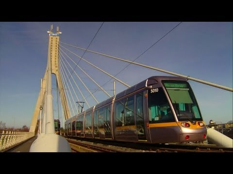 LUAS Trams meet on Taney Bridge, Dublin