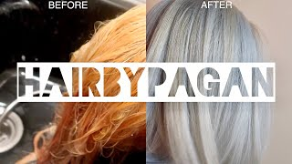 How To Tone Your Hair Ash Blonde At Home! Wella color charm T14 Wella T18 Wella 050