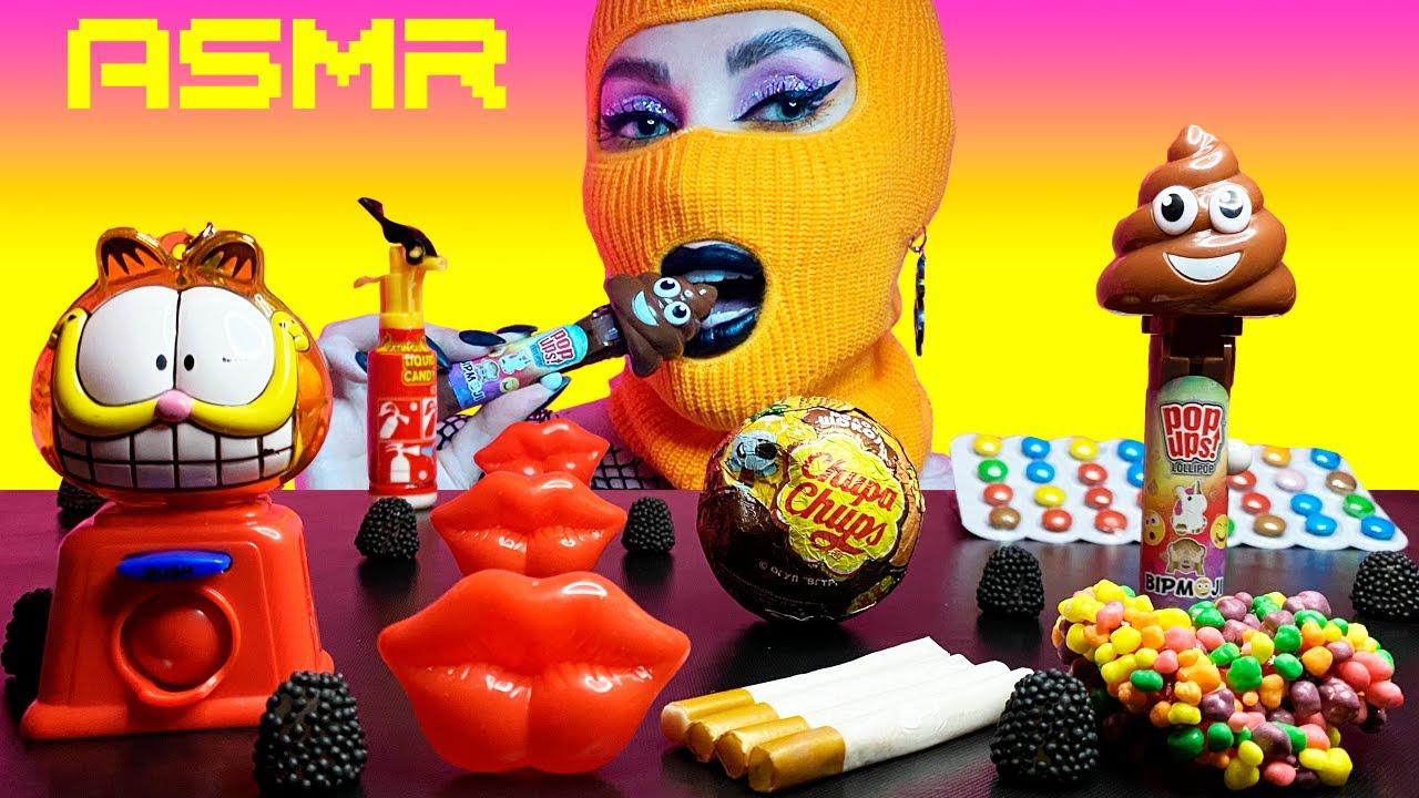 ASMR Candy Bar, Garfield Bubble Gum, Nerds Rope, Poop Lollipop, Chupa Chups Surprise Egg, Fire Spray