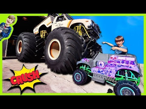 Power Wheels Grave Digger Monster Truck Crushed By Real Monster Truck Youtube