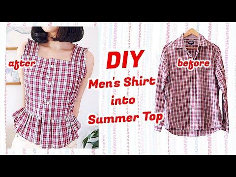 refashion-diy-men's-shirt-into-peplum-blouse-/-reuse-old-clothes-/-ファッション-/-옷리폼-/-costuraㅣmadebyaya