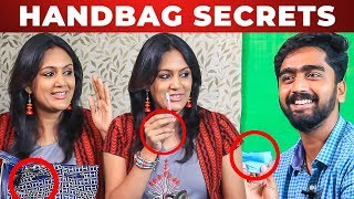 FUN UNLIMITED: Actress Devadarshini  Make Up Test to VJ Venkat | What's Inside Your Handbag