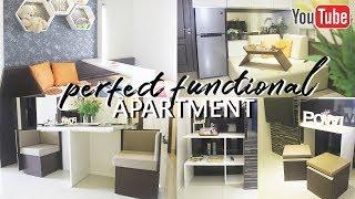 Interior Minimalis Desain Apartemen 2 Kamar Dengan Furniture Multifungsi