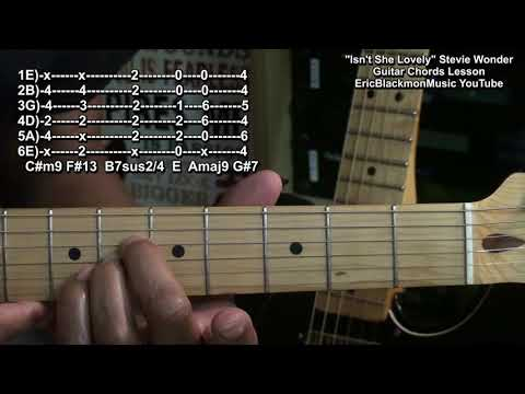 How To Play ISN&39;T SHE LOVELY Stevie Wonder Guitar Chords Lesson Motown 1976 🎸