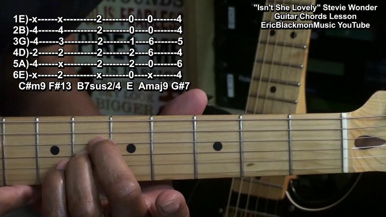 How To Play ISN'T SHE LOVELY Stevie Wonder Guitar Chords Lesson Motown 15  🎸 EricBlackmonGuitar