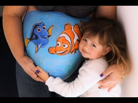 bellypainting findet nemo babybauch bemalen by bodyart. Black Bedroom Furniture Sets. Home Design Ideas