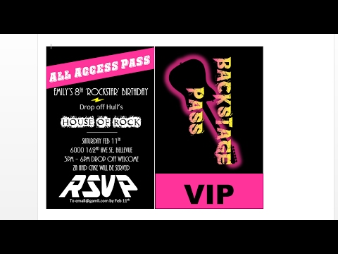 How to make concert backstage pass party invitations with MS Word - how to make a party invitation on microsoft word