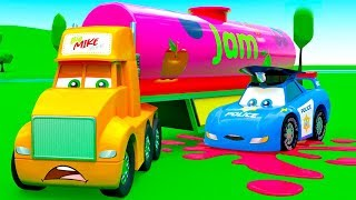 Big Mike The Truck lost on Road Full Tank of Jam - Funny Cartoons for Kids with Cars