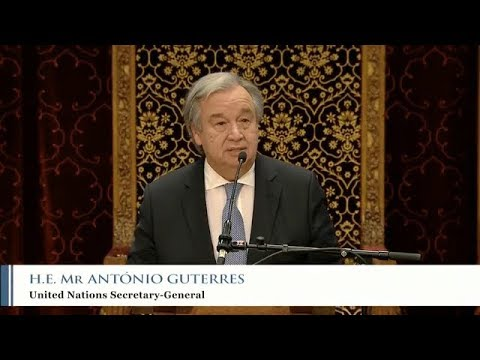 António Guterres (UN Secretary-General) at the ICTY closing ceremony in The Ridderzaal