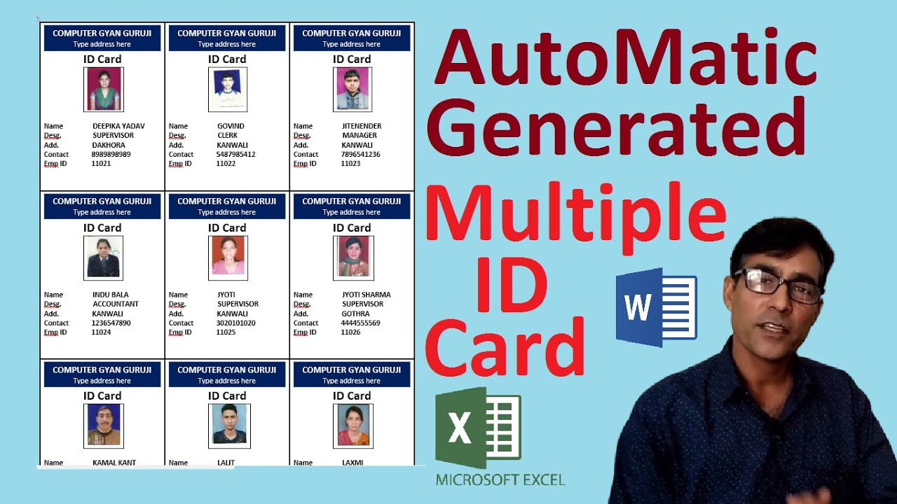 Automatic ID card creation in MS word using ms excel help in hindi || print on A4 page (CC)