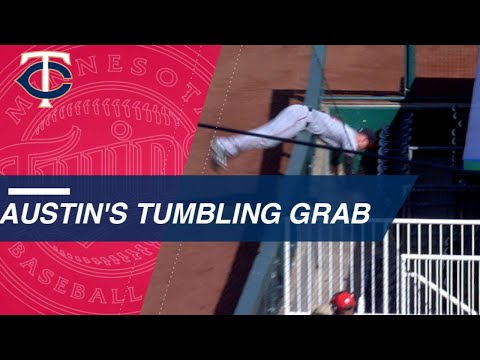 Austin makes catch and flips over railing