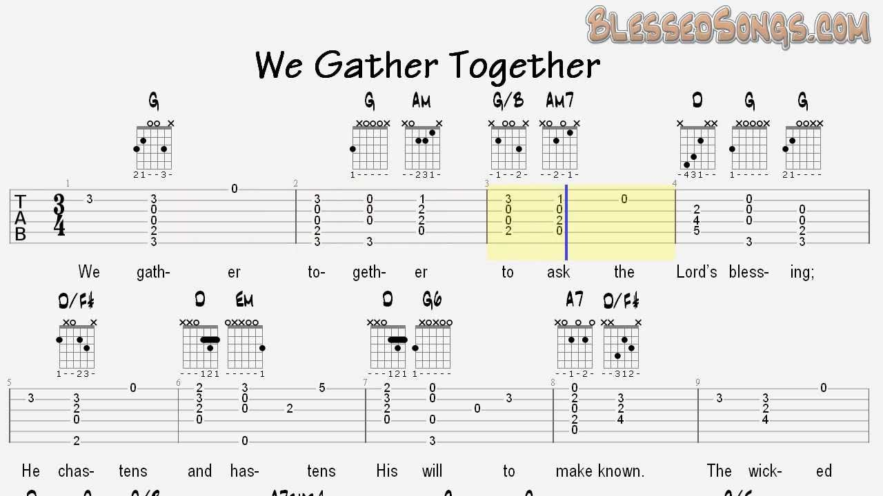 Learn Hymns On Guitar We Gather Together Tablature And Chords