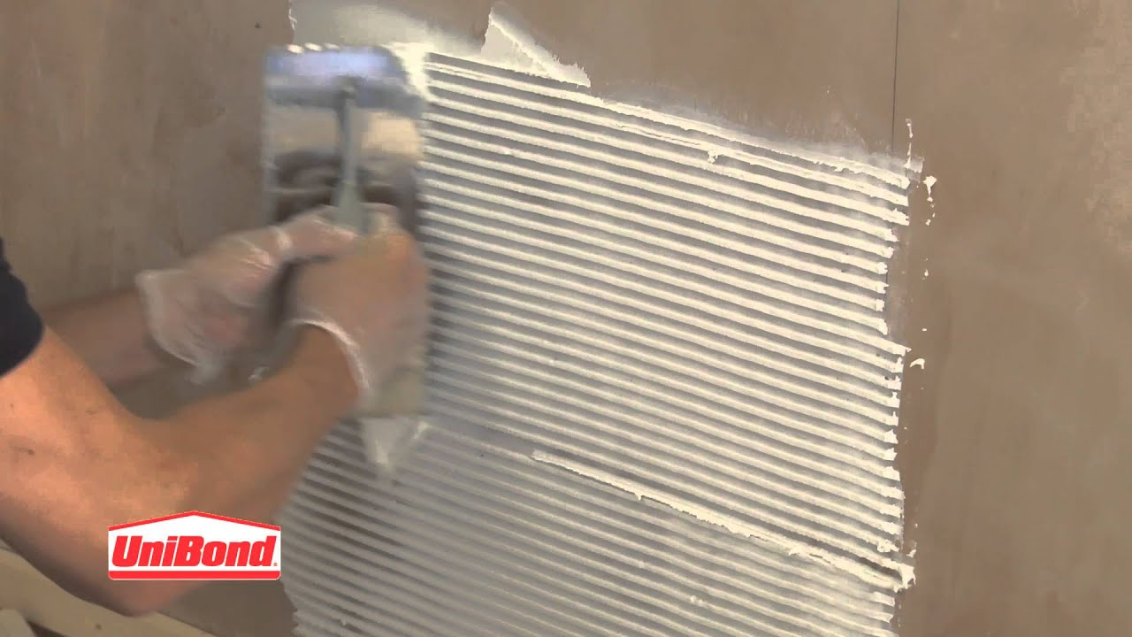 How To: Wall Tiling. Step 9: Applying the adhesive - YouTube