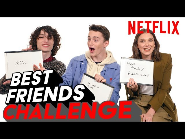Stranger Things 3 Best Friends Challenge | Millie, Finn & Noah | Netflix
