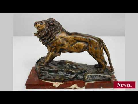 Antique French Victorian bronze figure of lion on rouge