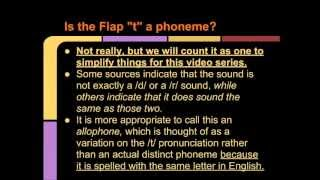 "Intro to Speaking & Pronunciation: Video 7-The Flap ""t"" and Glottal ""t"""