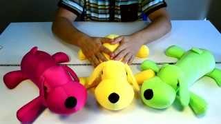Идеи подарков: Мягкая игрушка Собака лежачая красная, желтая и зеленая (видео обзор)