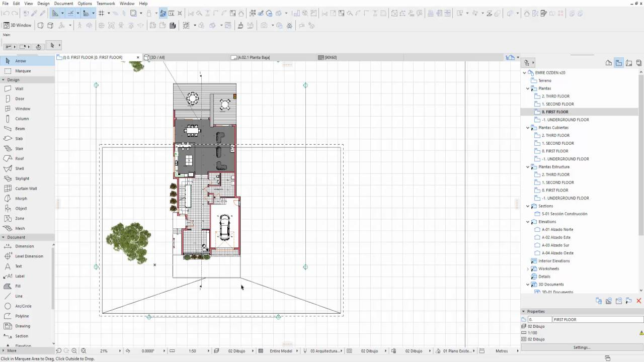 learning archicad tutorial 26 montaje de planta 3d en planos 2d youtube. Black Bedroom Furniture Sets. Home Design Ideas
