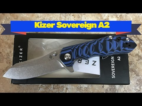Kizer Sovereign A2 linerlock knife with sculpted blue G10 scales and VG10 blade steel.