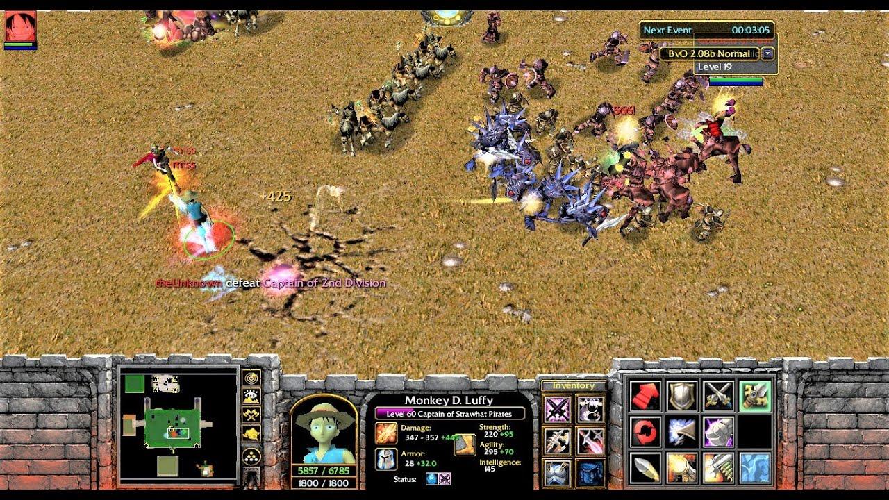 Warcraft 3 Custom Gameplay - Bleach Vs One Piece (Luffy)