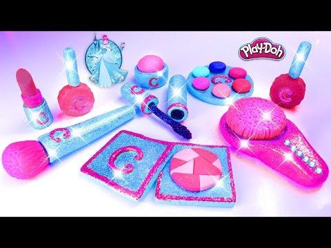 play-doh-makeup-set-cinderella-eyeshadow-lipstick-💄-nail-polish-💅-with-play-doh