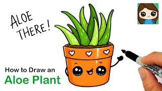 How to Draw an Aloe Plant in a Pot