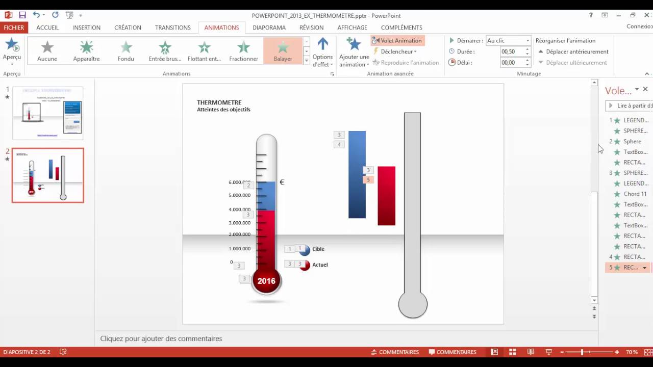 powerpoint 2013   comment faire un thermometre avec