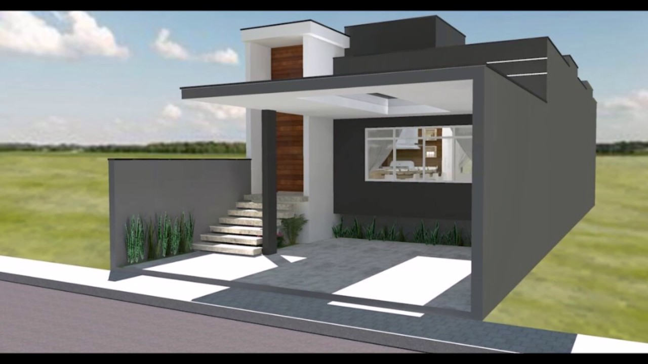 Casa pequena moderna 7x20 youtube for Planos casas pequenas modernas