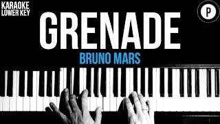 Bruno Mars - Grenade Karaoke SLOWER Acoustic Piano Instrumental Cover Lyrics LOWER KEY