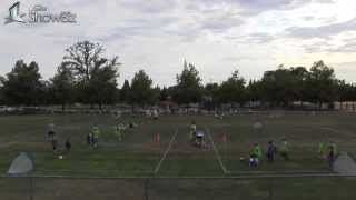 side by side 4v4 u6 soccer games view of players