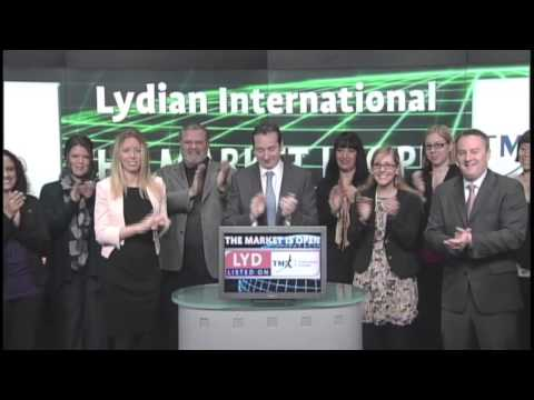 Lydian International (LYD:TSX) opens Toronto Stock Exchange, January 24, 2013.