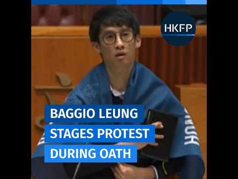 "Youngspiration's Sixtus ""Baggio Leung"" takes his oath at the Hong Kong legislature"