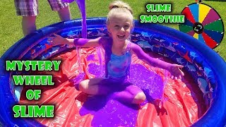 Mystery Wheel of Slime Challenge!!! Giant Slime Smoothie in a Pool! I Mixed All My Slime together!