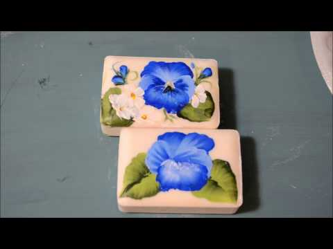 How to Paint a Blue Pansy on Soap