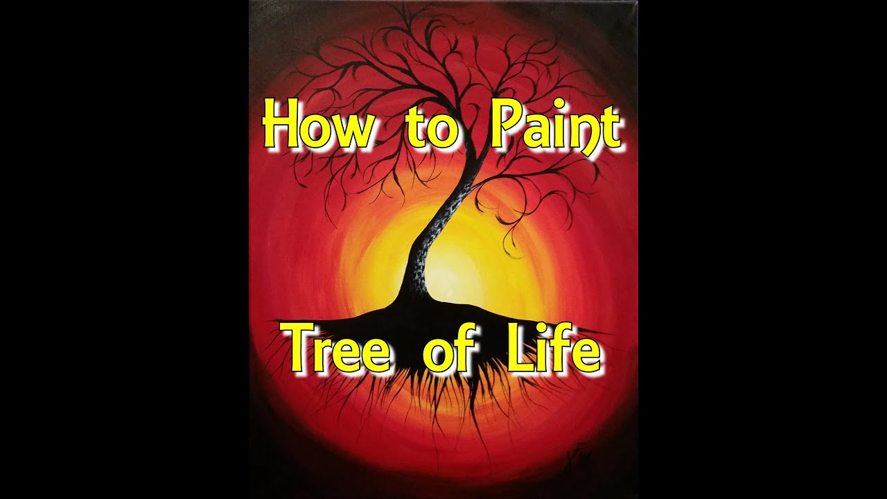 tree of life step by step acrylic painting on canvas for beginners youtube. Black Bedroom Furniture Sets. Home Design Ideas