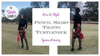 Pencil Skirt & Tights OOTD  - How to Style