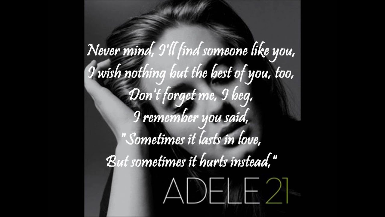 Adele - Someone like you WITH ON-SCREEN LYRICS