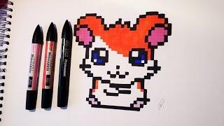 Hamtaro Drawing - Kawaii Pixel Art
