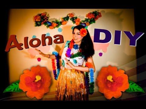 Diy Collar Y Flor Hawaiano Con Papel Crepe Youtube