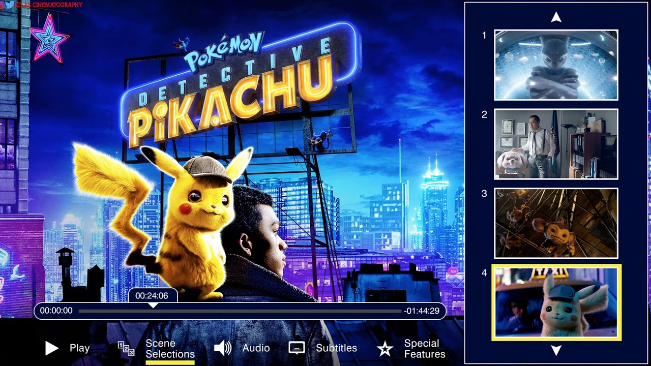 Pokemon Detective Pikachu 2019 Blu Ray Disc Main Menu Menu Walkthrough Youtube