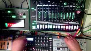 Roland TR8 TB3 + TB303 Devilfish + Elektron A4 by Honeysmack