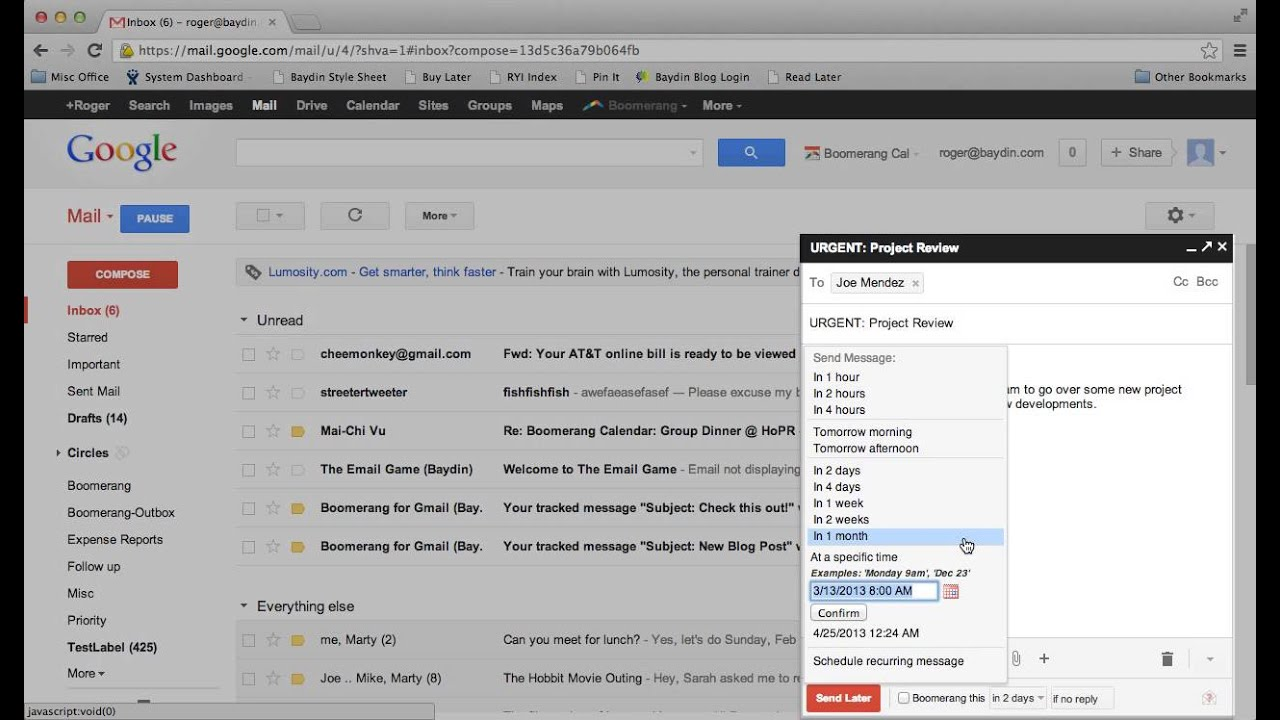 How to Send Later with Boomerang for Gmail - YouTube
