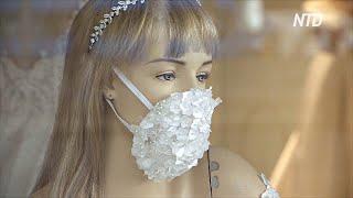 Свадебный салон надел на манекены маски для лица с блёстками и стразами
