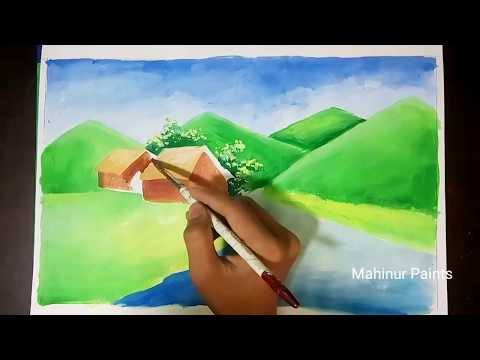 How to paint a beautiful mountain landscape step by step | Poster color drawing tutorial.