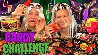 XXL HALLOWEEN Candy Challenge deusch mit ekliger STRAFE Gehirn, Glibber Augen, Spinnen Eva vs Kathi