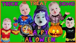 Trick or Treat Kid Song for Halloween Baby Superheroes Go Trick or Treating to Get Candy New Song