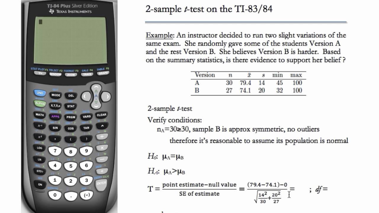 2 Sample T Test Ti 83 Ti 84 Youtube